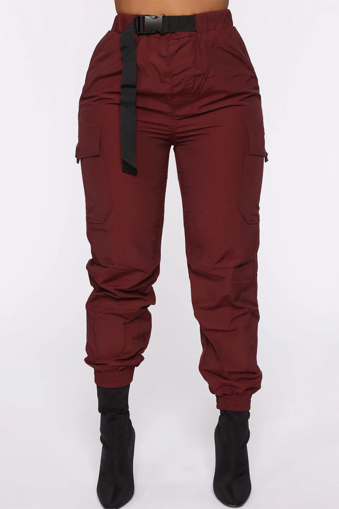 Solid Color Belted High Waist Cargo Pants