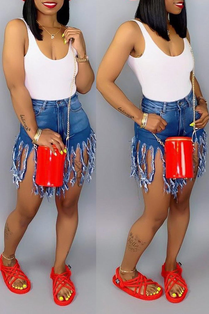 Tassel Hem Plus Size Denim High Waist Shorts