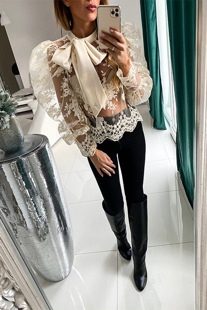 Lace See-through Puff Sleeve Bowknot Top