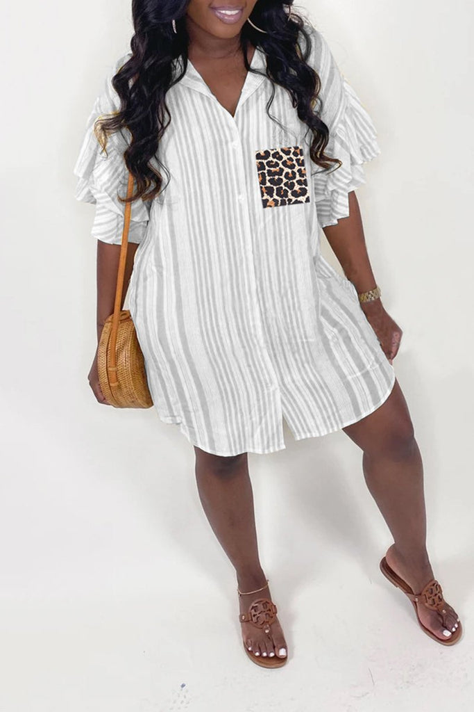 Ruffled Sleeve Striped Leopard Mini Dress
