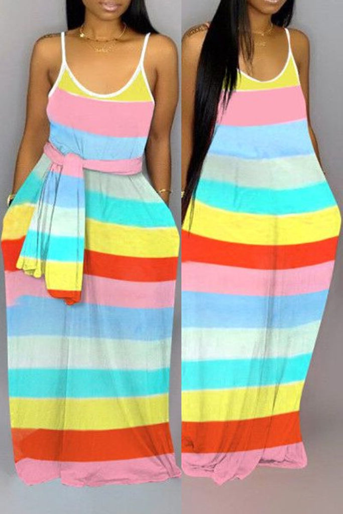 Rainbow Striped Pocket Maxi Dress Without Belt