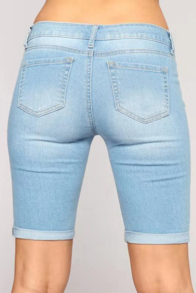 Hole Distressed High-elastic Denim Shorts