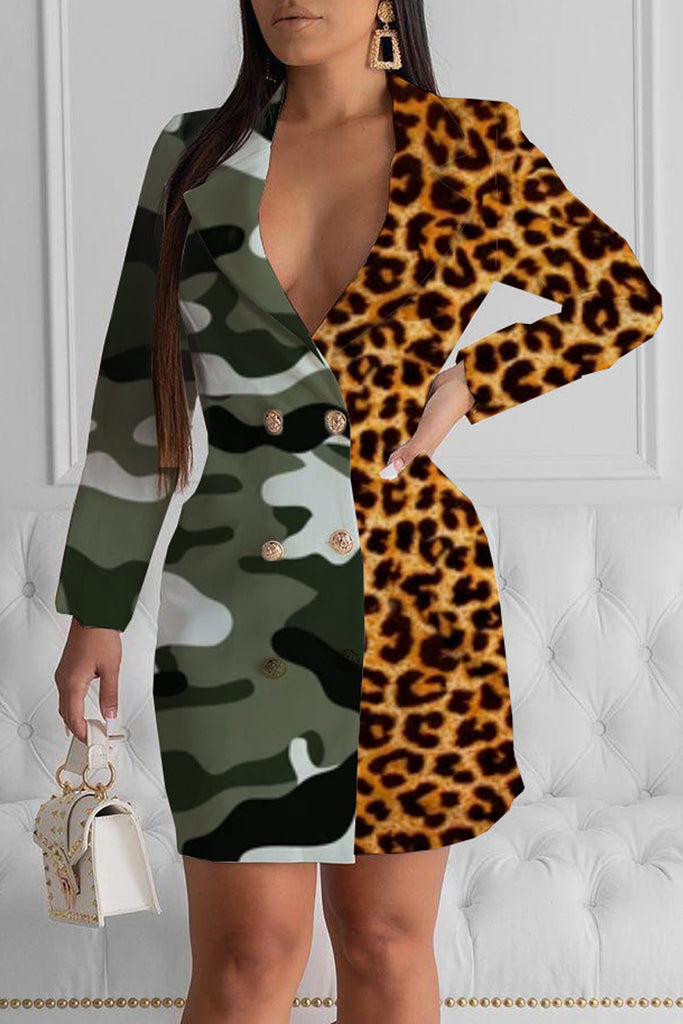 Leopard Print V Neck Camouflage Printed Mini Dress