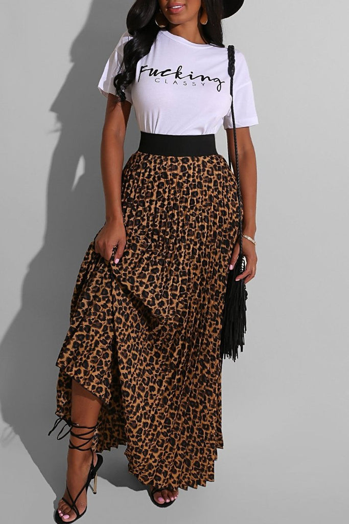 Leopard Print Pleated Two Piece Maxi Dress