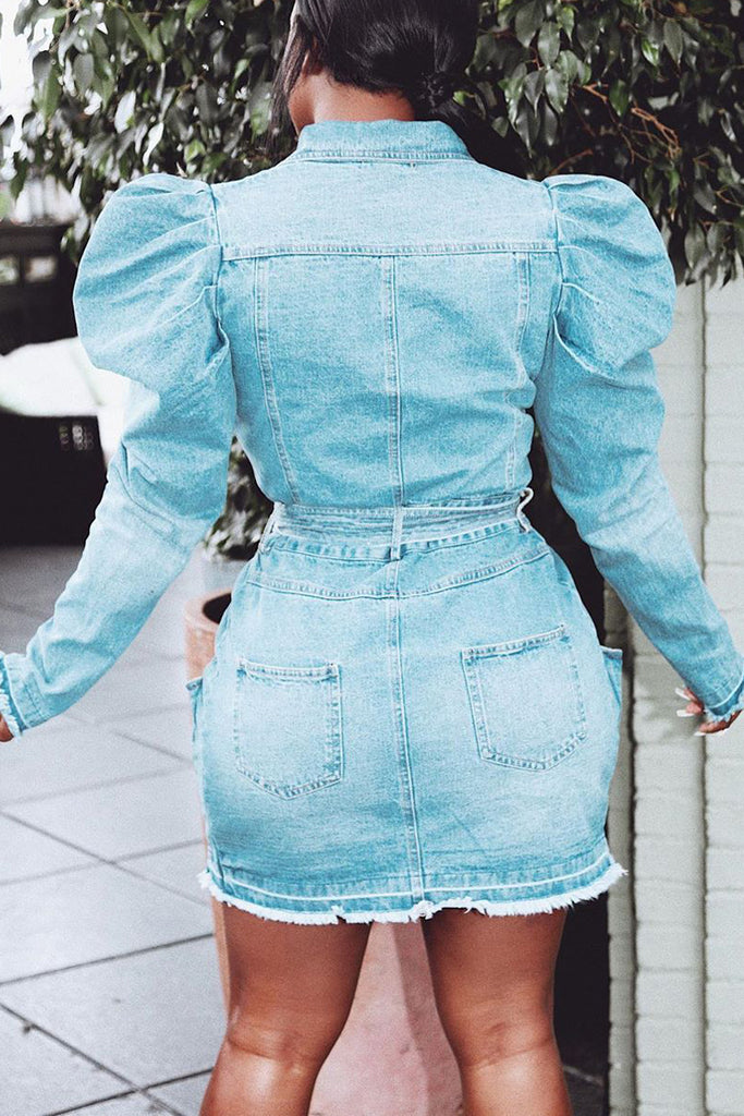 Denim Turndown Collar Puff Sleeve Belted Mini Dress