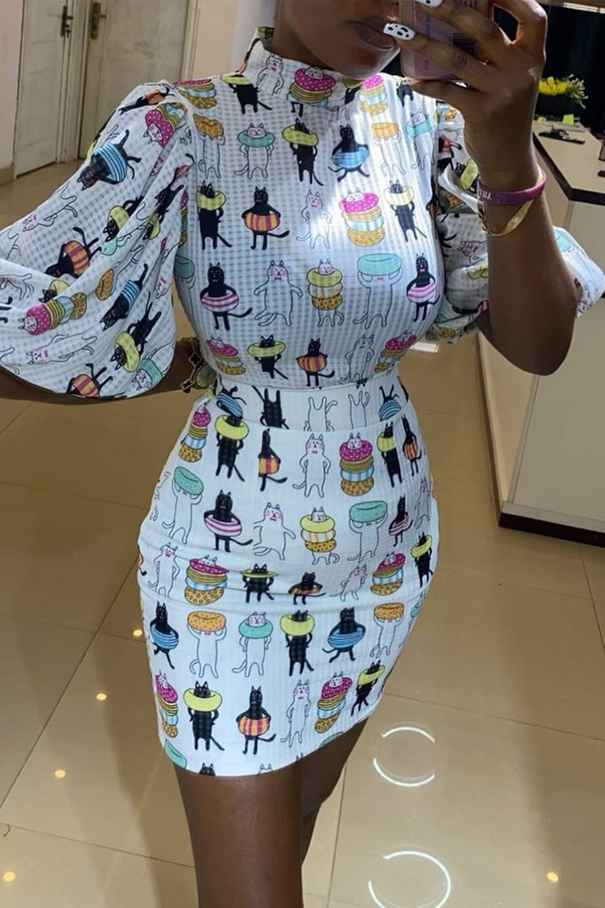 Puff Sleeve Cartoon Print Top & Mini Skirts