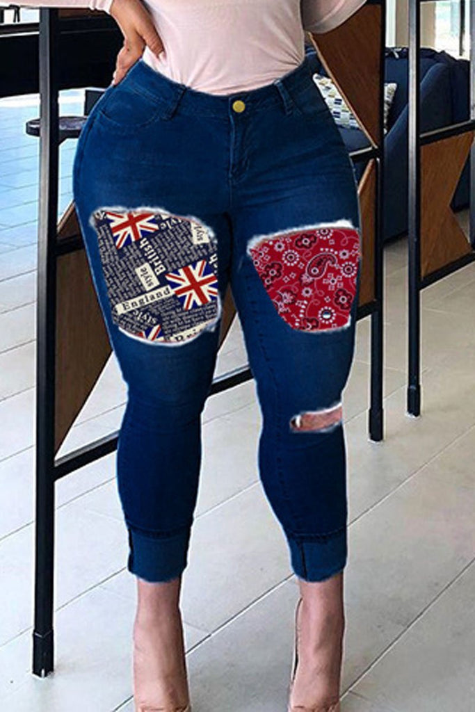 Plus Size Patchwork Hole Distressed Jeans