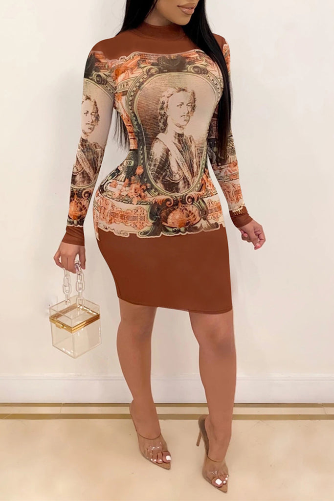Characters Printed Long Sleeve Midi Dress