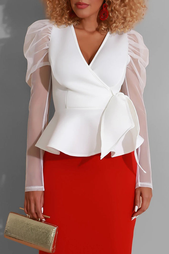 See-through Organza Patchwork Belted Blouse