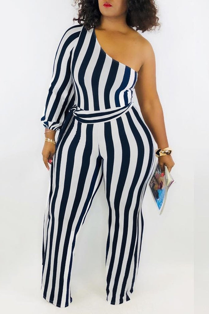 One Sleeve Striped Casual Jumpsuit With Belt
