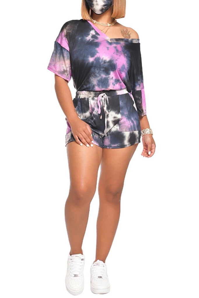 Tie Dye Lace Up Skew Neck Two Piece Sets