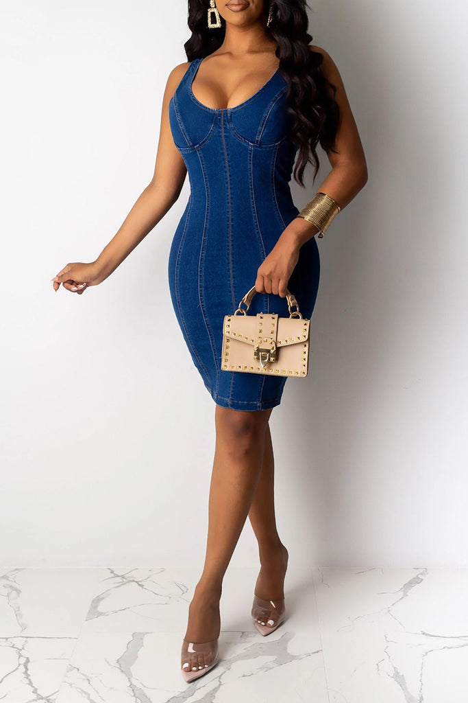 Sleeveless Denim Bodycon Mini Dress