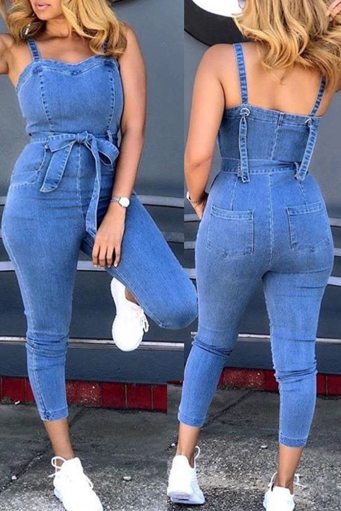 Denim Spaghetti Straps Lace-up Jumpsuit