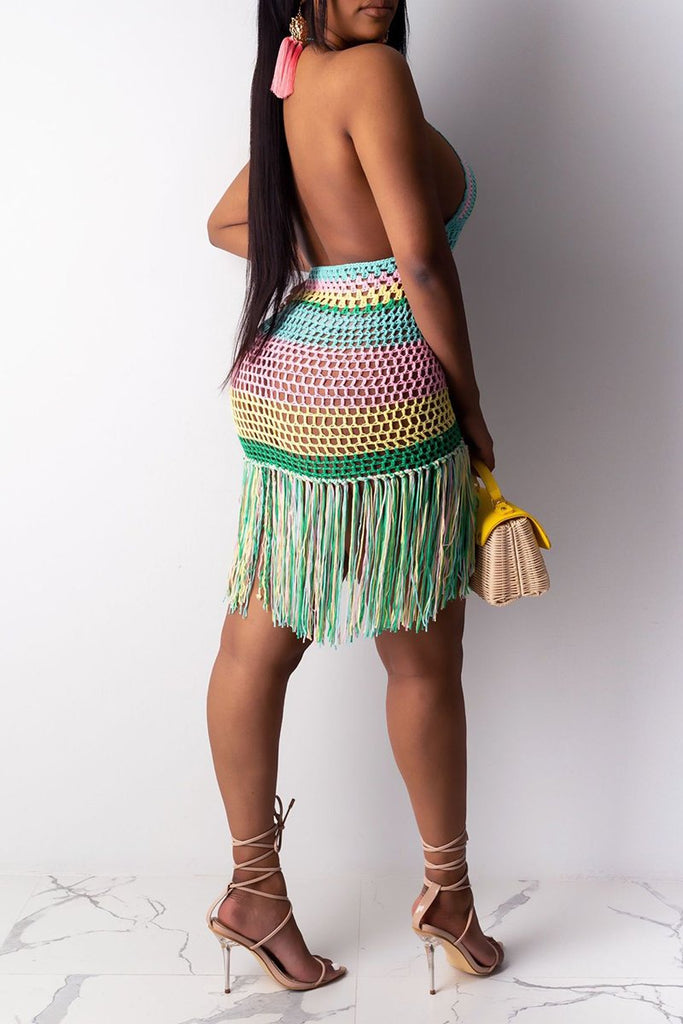 Colorful Net Yarn Halter Tassels Dress