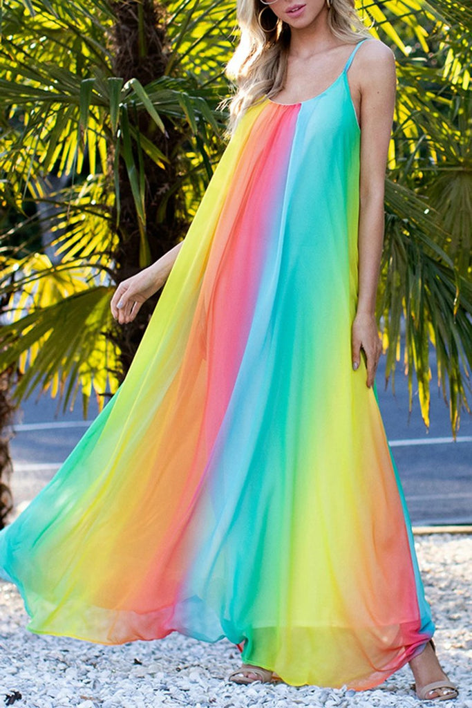 Rainbow Halter Neck Maxi Dress