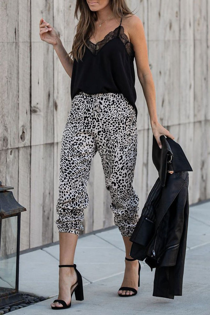 Leopard Print Pocket Casual Pants