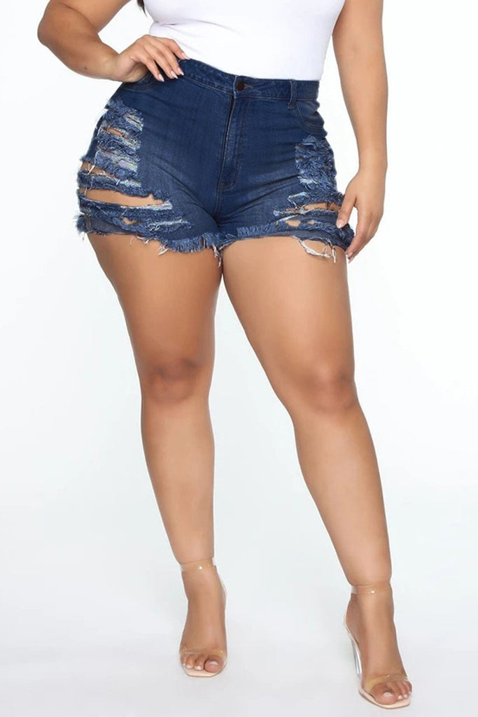 High-elastic Hole Distressed Denim Shorts
