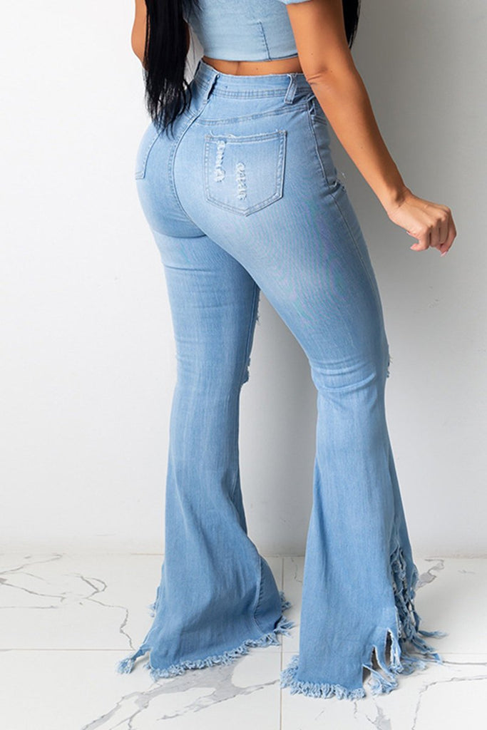 Tassels Edge Distressed Denim Pants