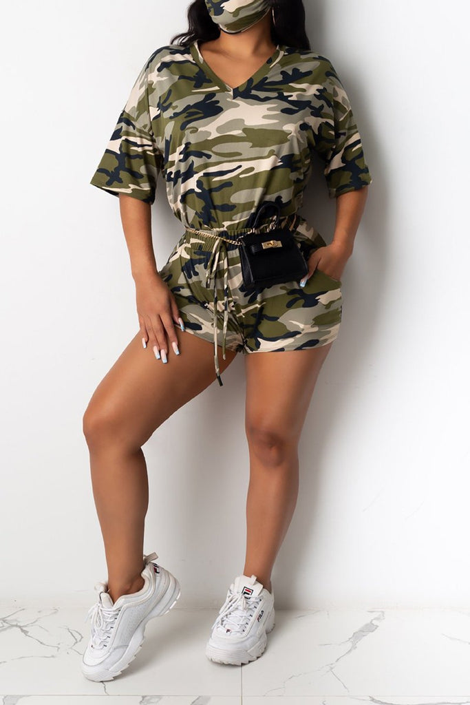 Camouflage Tie Dye Lace  Up Top & Shorts