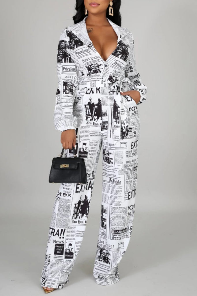 Button Newspaper Print Pocket Jumpsuit