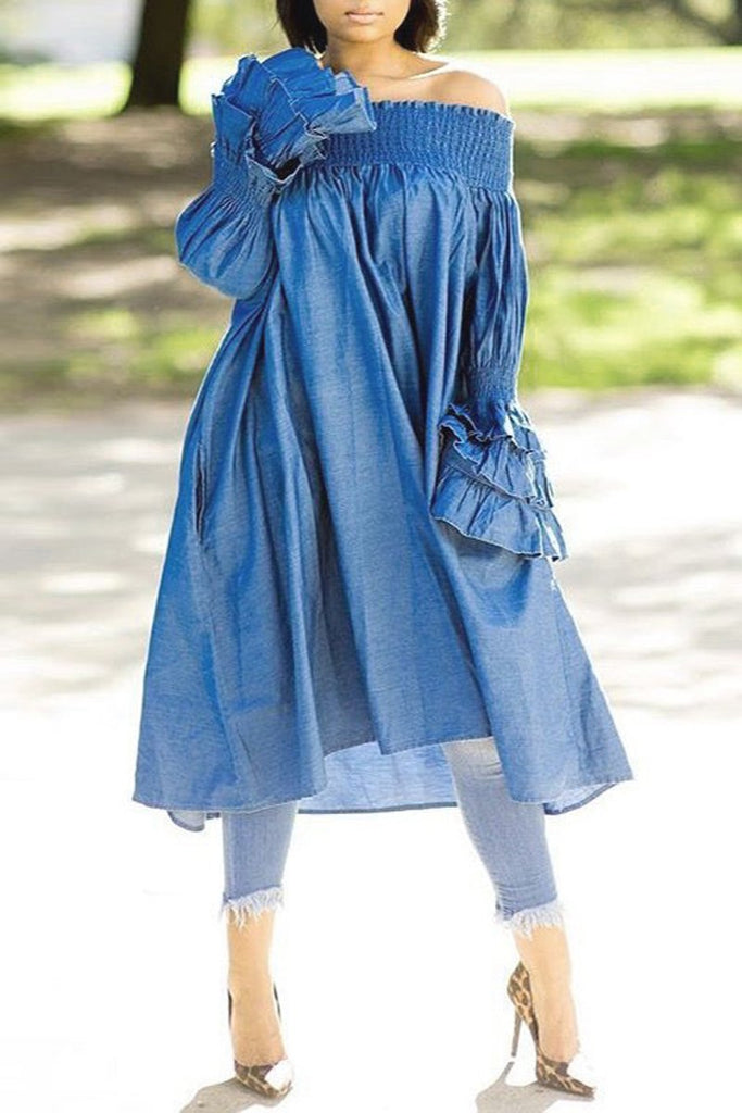Off The Shoulder Ruffle Denim Midi Dress