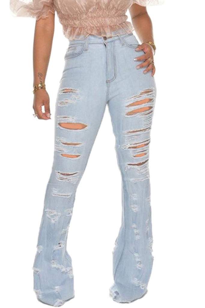 Plus Size Hole Distressed Flare Jeans