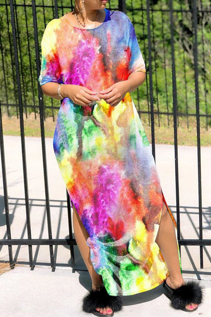 High Slit Round Neck Colorful Maxi Dress