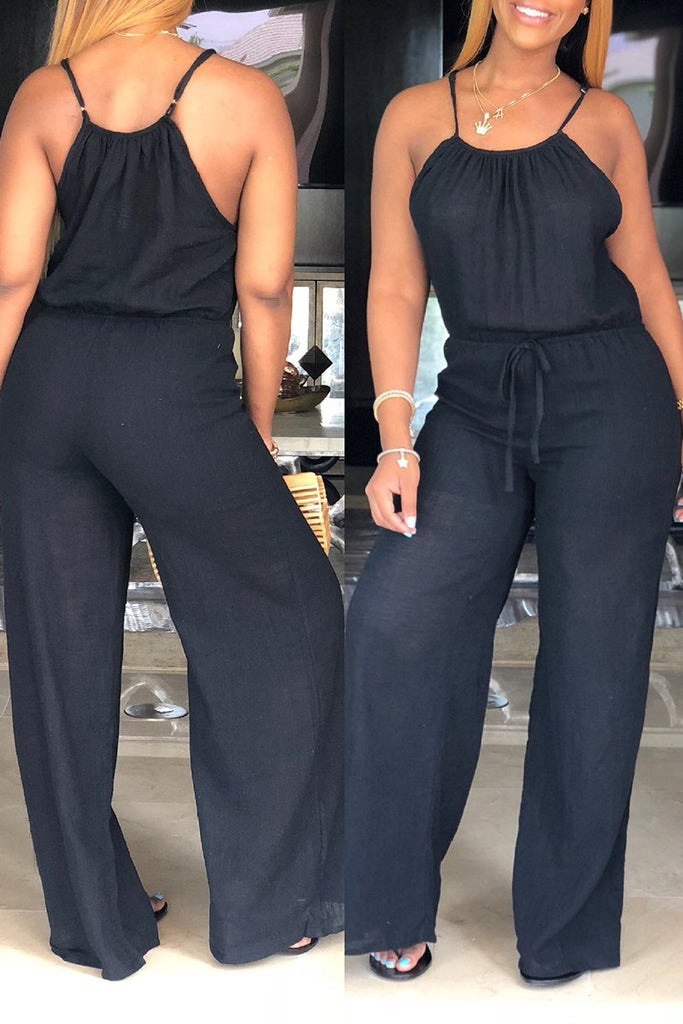 Plus Size Lace Up Sleeveless Jumpsuit