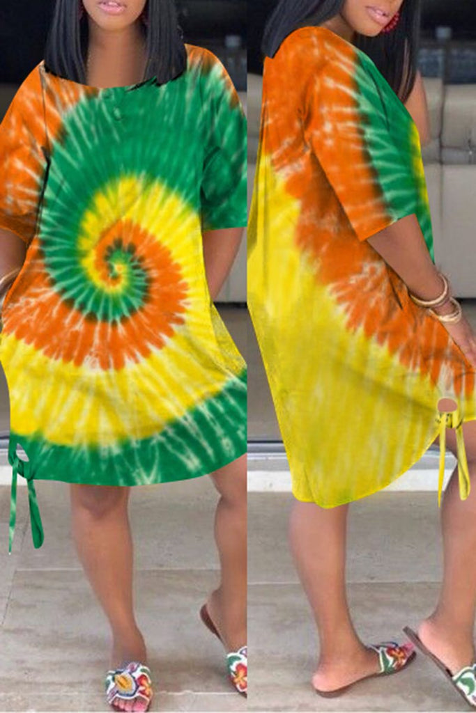 Lace Up Tie Dye Plus Size Casual Dress