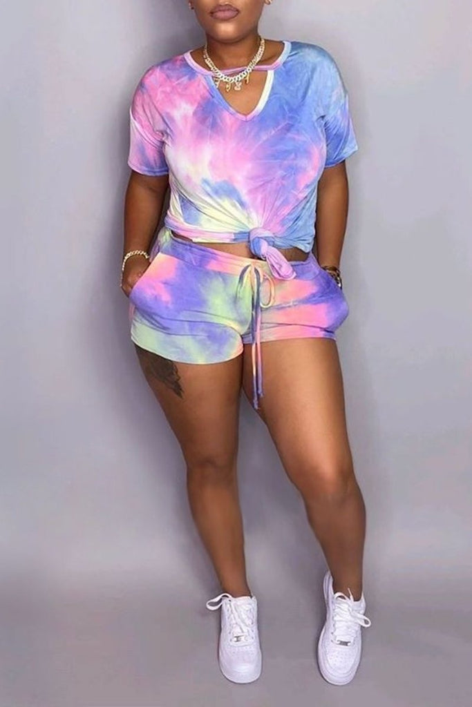 Lace Up Tie Dye Pocket Colorful Two Piece Sets