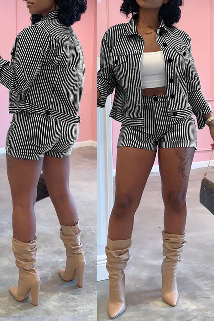 Striped Turndown Collar Jacket & Shorts
