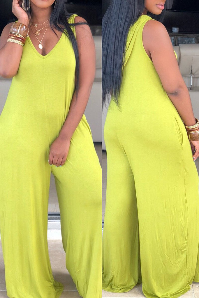 Hooded Collar Pocket Wide Leg Jumpsuit