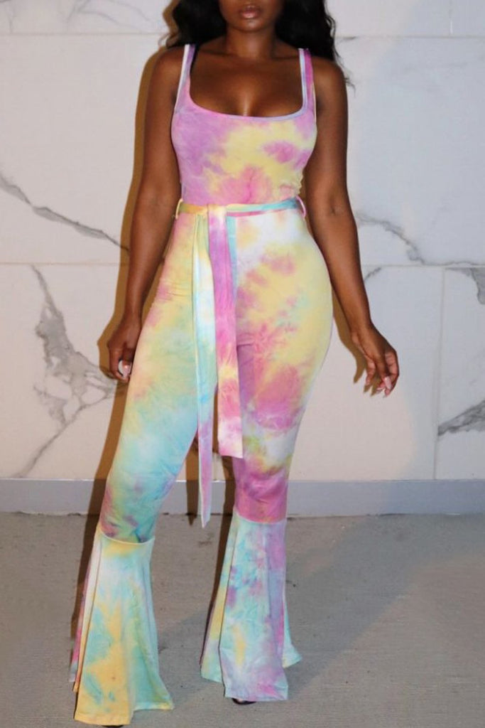 Scoop Neck Lace-up Tie Dye Jumpsuit