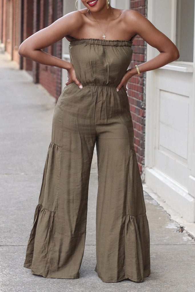 Strapless Solid Color Wide Leg Jumpsuit