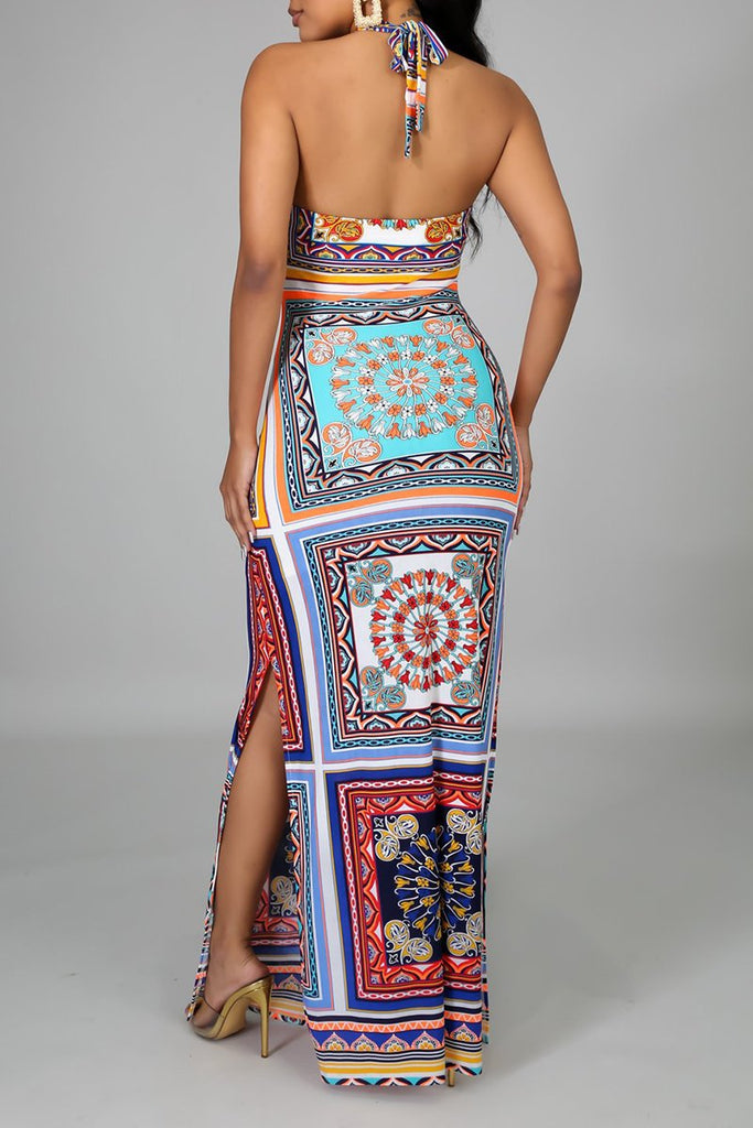 National Print Halter Neck Slit Maxi Dress