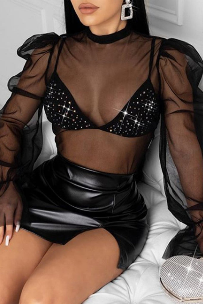 See-Through Flared Sleeve Underwear & Blouse