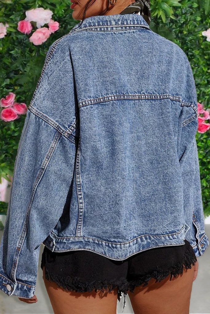 Turndown Collar Denim Button Up Jacket
