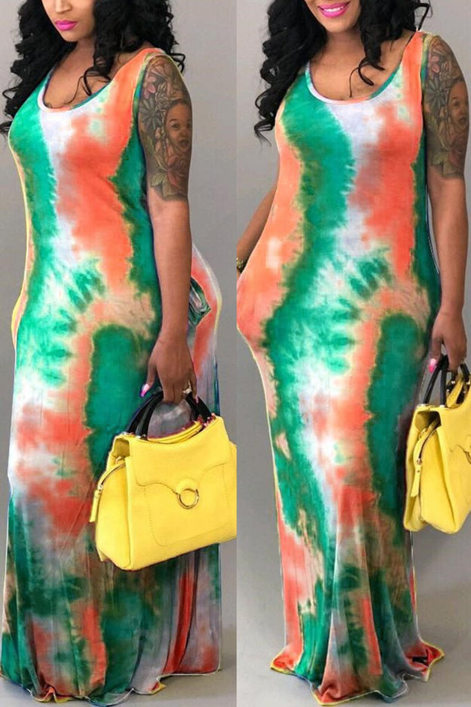 Tie Dye Plus Size Scoop Neck Dress