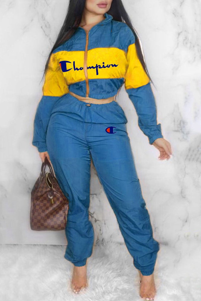 Embroidered Letter Color Block Zipper Up Two Piece Sets
