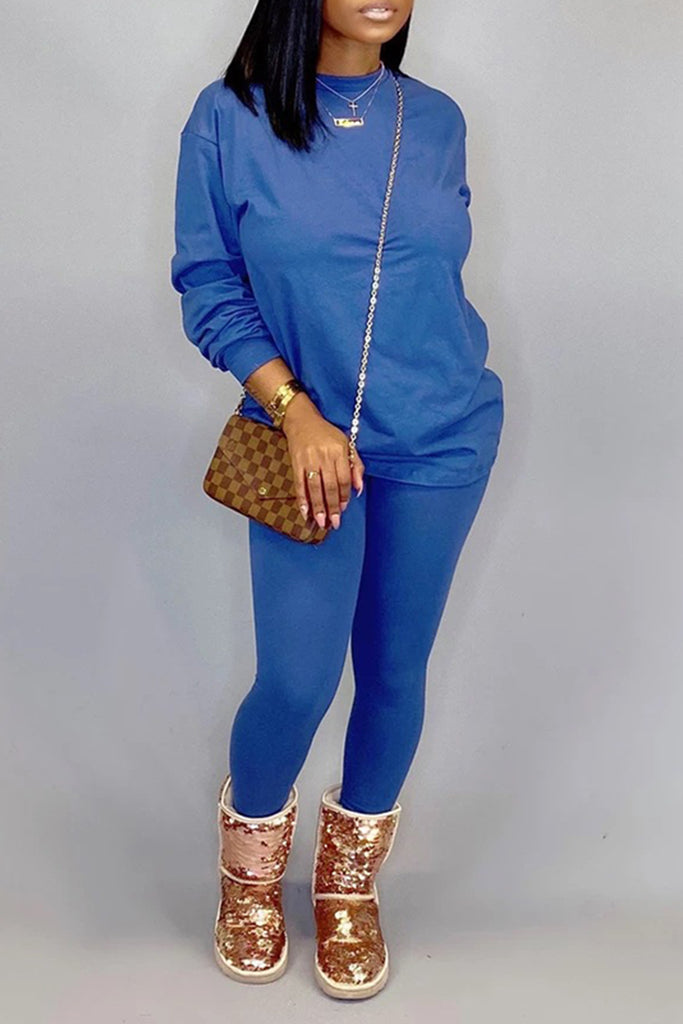 Solid Color Round Neck Long Sleeve Top & Pants
