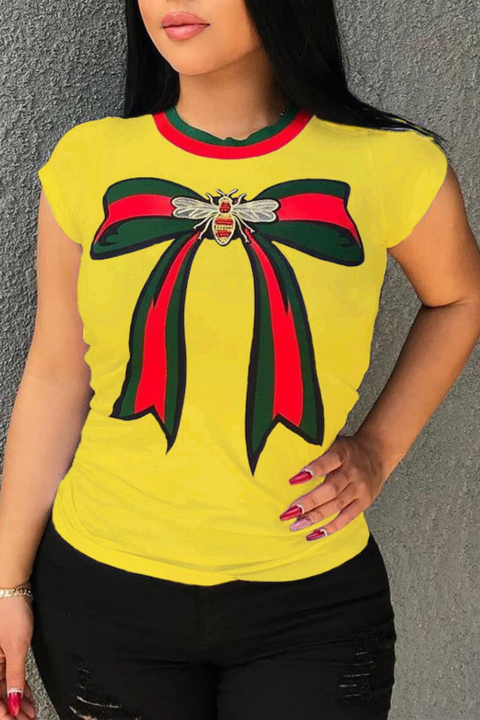 Plus Size Stripe Patchwork Bowknot T-shirt