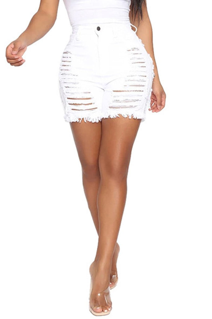 Plus Size Hole Distressed Tassel Hem Denim Shorts