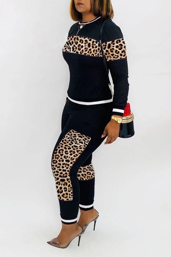 Leopard Patchwork Long Sleeve Top & Pants
