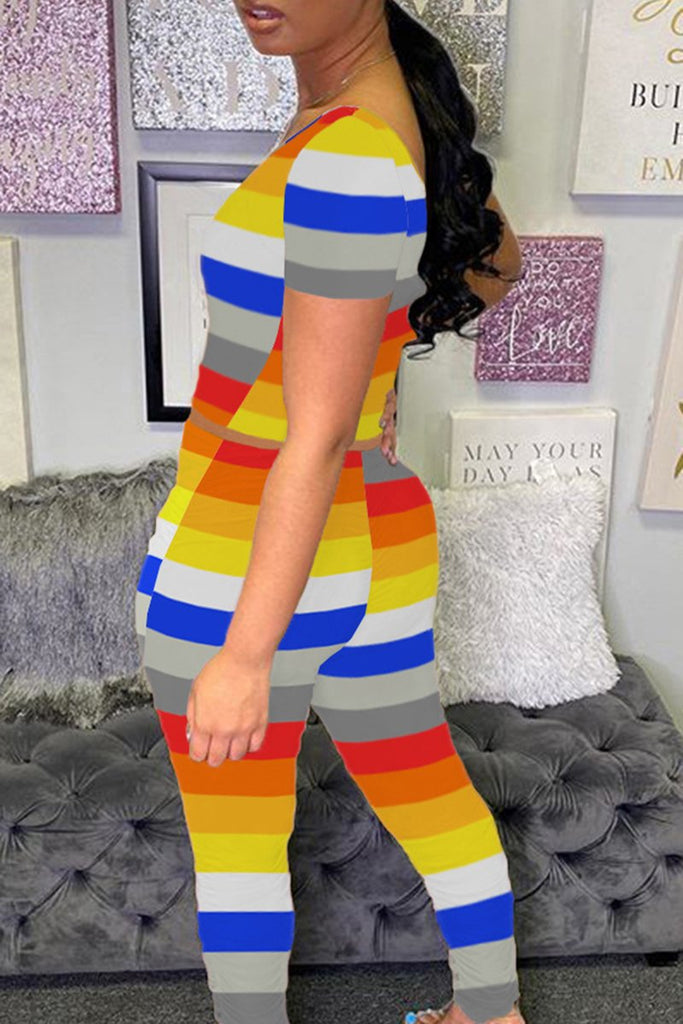 Plus Size Rainbow Striped Short Sleeve Top & Pants