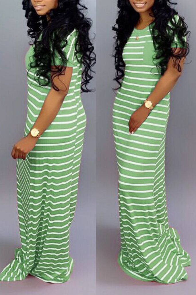 Striped Short Sleeve Casual Maxi Dress