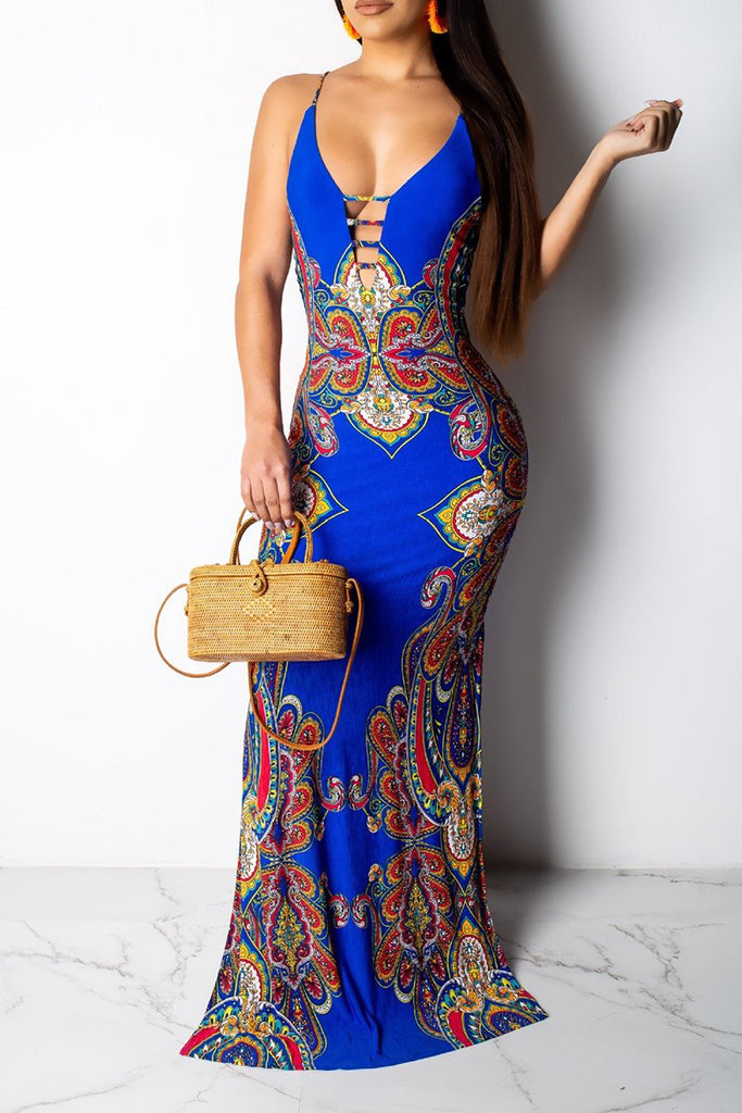 Printed Pierced Sleeveless Maxi Dress