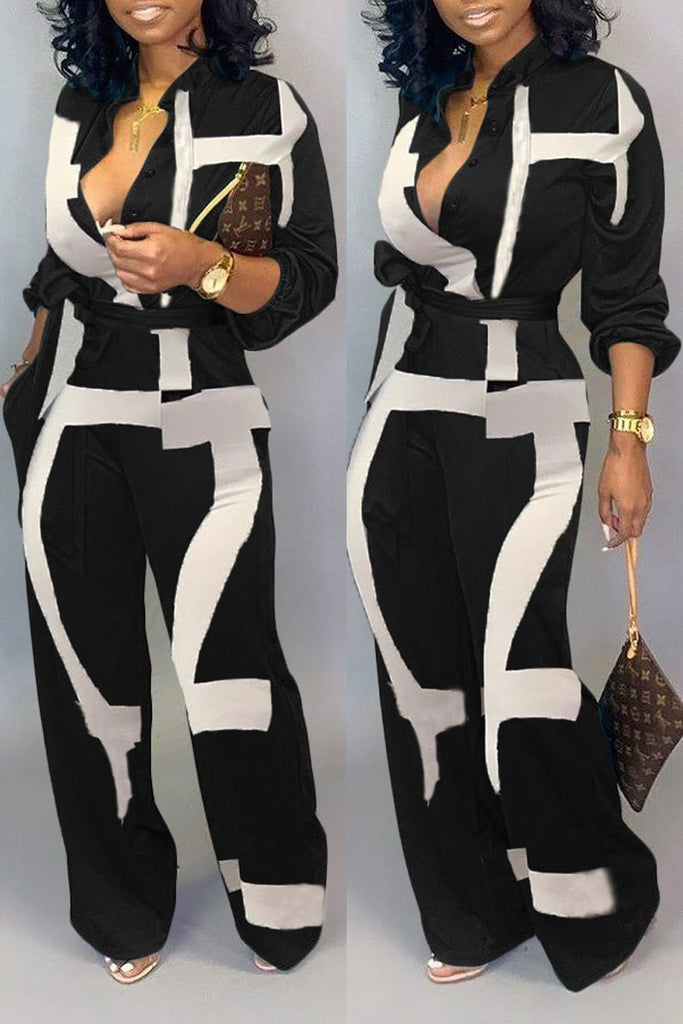 Plus Size Lace-up Print Pocket Jumpsuit
