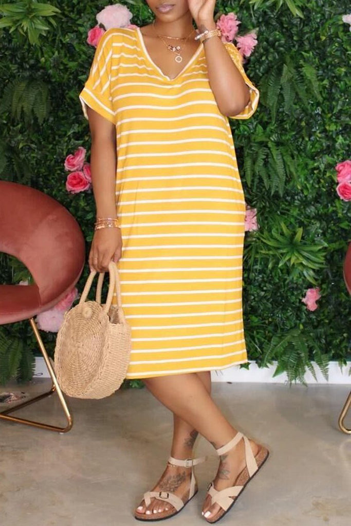 Stripe Print V-neck Short Sleeve Midi Dress