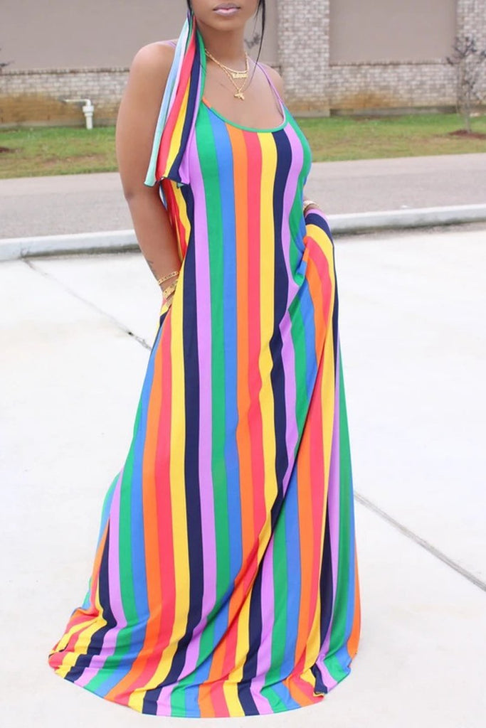Spaghetti Straps Stripe Print Dress With Head Scarf