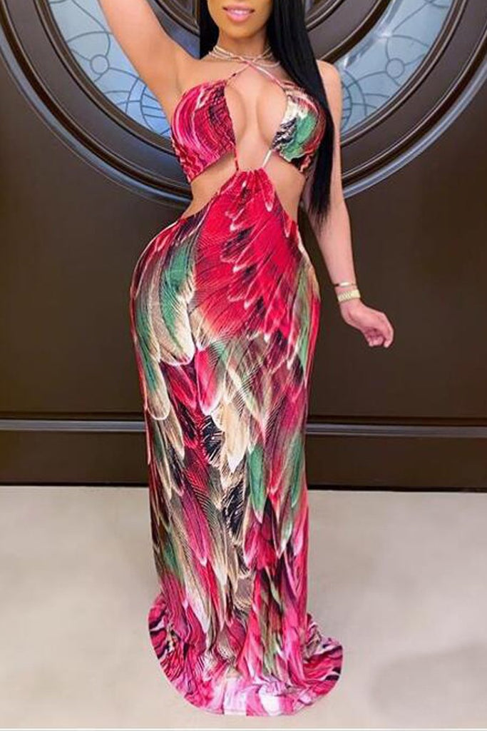 Halter Neck Open Back Bandage Maxi Dress